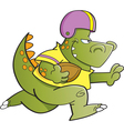 Cartoon football dinosaur vector