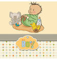 Little baby boy play with his toys vector
