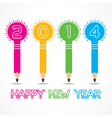 New year greeting with pencil bulb2014 vector