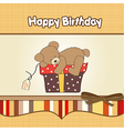 Birthday greeting card with teddy bear and big vector