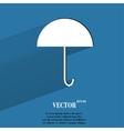 Umbrella flat modern web button with long shadow vector