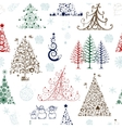 Christmas trees seamless pattern for your design vector