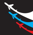 Airplanes background with russian flag vector