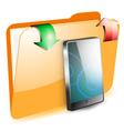 Share smartphone on folder vector