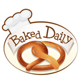 A baked daily label with a twisted bread vector
