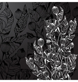 Black background with decorative flowers vector