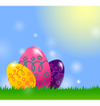 Easter background with easter egg vector