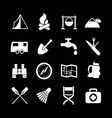 Set icons of camping vector