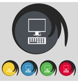Computer monitor and keyboard icon set colourful vector