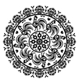 Monochrome polish folk art pattern in circle with vector