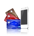 Mobile phone with credit cards vector
