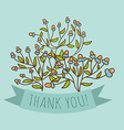 Thank you greeting card with bud flower vector
