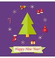 Happy new year card with christmas tree over vector