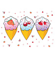 Three ice creams vector