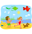 Boy and girl playing with kites at the beach vector