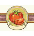 Vintage red tomatos label on old paper background vector