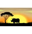 Rhinoceros under a tree vector