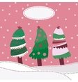 Snow landscape background with christmas trees vector