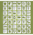 Green ecological icons on paper vector