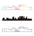 Atlanta skyline linear style with rainbow vector