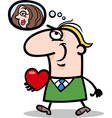 Man with his valentine cartoon vector