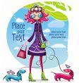 Spring shopping girl vector
