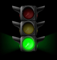 Traffic light with green on vector