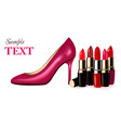 Lipstick with shoe background vector