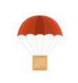 Wooden crate with red parachute vector