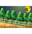 A forest with a sleeping moon vector