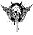 Head punk with wings vector