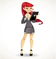 Red haired girl with black tablet computer vector