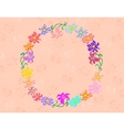 Wreath from abstract flowers with background vector