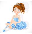 Beautiful ballerina girl in blue dress and tiara vector