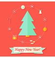 Happy new year card with christmas tree over red vector