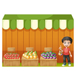 A fruit shop with a young boy wearing a red shirt vector
