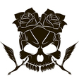 Pirate skull and two roses vector