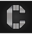 Letter metal chrome ribbon - c vector
