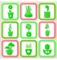 Set of 9 icons of different plants vector