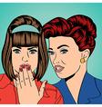 Two young girlfriends talking comic art vector