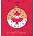 Greeting card with ball and christmas tree vector