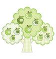 Patchwork green apple tree vector