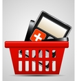 Calculator and shopping basket vector