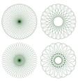 Set of green guilloche rosettes vector