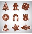 Christmas various gingerbread symbols set eps10 vector
