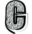 Diamond font letter c vector