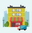 Building retail store front with delivery van vector