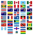 Flags of the countries of america vector