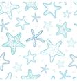 Starfish blue line art seamless pattern background vector