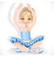 Beautiful ballerina girl in blue dress sit on vector
